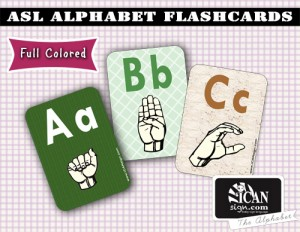 ASL Alphabet Flashcards - Full Colored