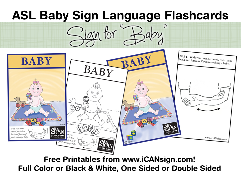 picture regarding Baby Sign Language Printable called Little one Signal Language Flashcard: Boy or girl No cost printable ASL