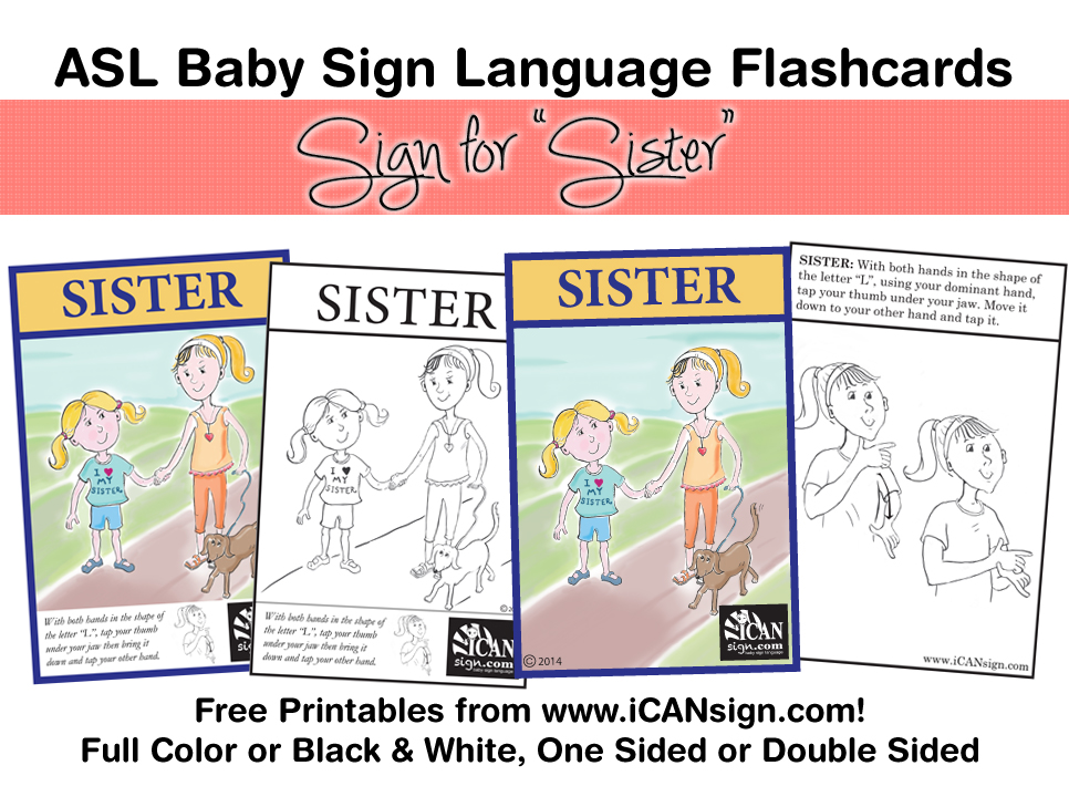 photograph about Sign Language Flash Cards Printable referred to as asl sister Little one Indication Language