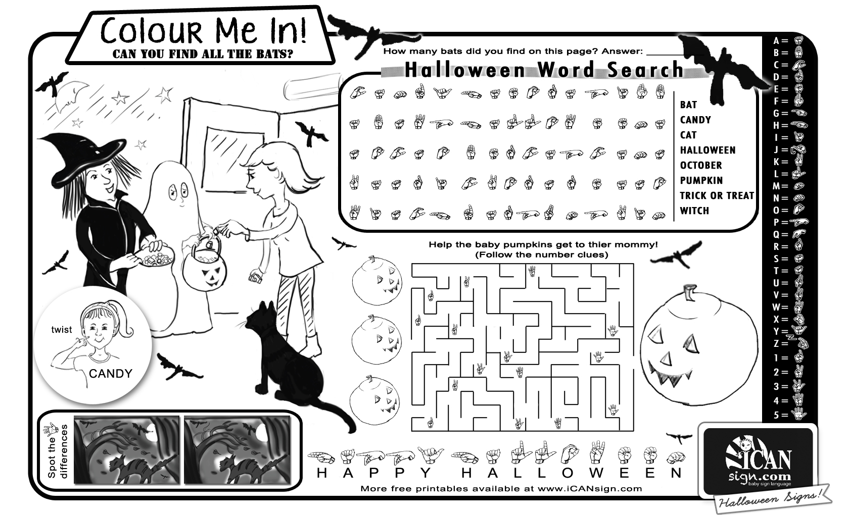 Printable Halloween Activity with Sign Language